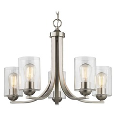 Satin Nickel Chandelier with Clear Cylinder Glass and 5-Lights