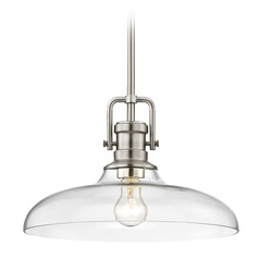 Industrial Clear Glass Pendant Light Satin Nickel 14-Inch Wide