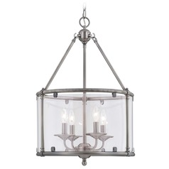 Savoy House Brushed Pewter Pendant Light with Drum Shade