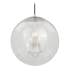 Polished Nickel Pendant Light Seeded Glass Globe Vaxcel Lighting