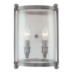 Sconce Wall Light with Clear Glass in Antique Nickel Finish