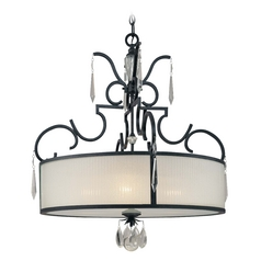 Drum Pendant Light with White Glass in Castellina Aged Iron Finish