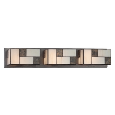Bathroom Light with Art Glass in Charcoal Finish