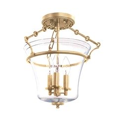 Semi-Flushmount Light with Clear Glass in Aged Brass Finish
