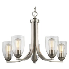 Satin Nickel Chandelier with Clear Dome Glass and 5-Lights