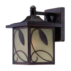 Outdoor Wall Light with Beige / Cream Glass in Flemish Copper Finish