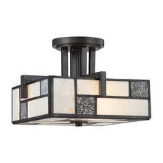 Semi-Flushmount Light with Art Glass in Charcoal Finish