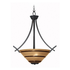 Pendant Light with Amber Glass in Oil Rubbed Bronze Finish