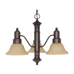 Chandelier with Beige / Cream Glass in Mahogany Bronze Finish