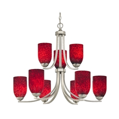 Art Glass Chandelier with Two Tiers and Nine Lights