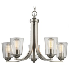 Satin Nickel Chandelier with Clear Cone Glass and 5-Lights