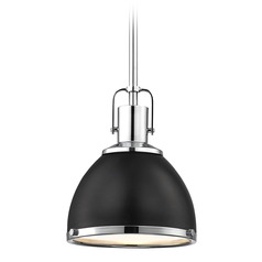 Black Mini-Pendant Chrome Accents 7.38-Inch Wide