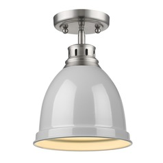 Golden Lighting Duncan Pewter Semi-Flushmount Light with Grey Shade