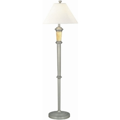 Lite Source Lighting Dorian Satin Steel Floor Lamp with Empire Shade