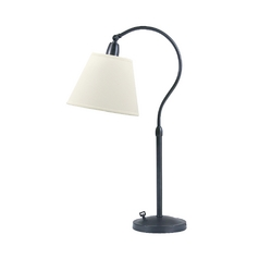 Adjustable Desk Lamp with White Fabric Shade