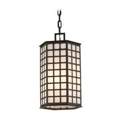 Troy Lighting Outdoor Hanging Light with White Glass in Bronze Finish F3417-C