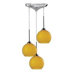 Elk Lighting HGTV Multi-Light Pendant with Yellow Shades 10240/3lem