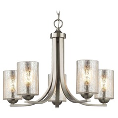 Satin Nickel Chandelier with Mercury Cylinder Glass and 5-Lights