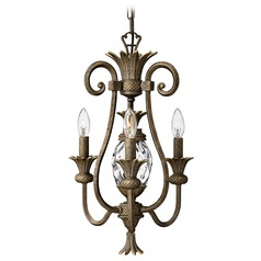 3-Light Pineapple Mini-Chandelier with Clear Glass in Pearl Bronze Finish