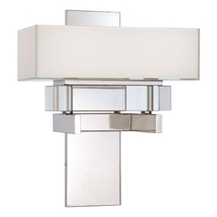 Sconce Wall Light with White Rectangle Shade in Polished Nickel