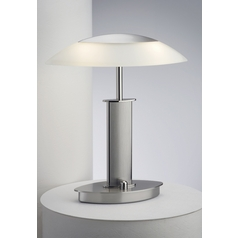Holtkoetter Modern Table Lamp with Beige / Cream Glass in Polished Nickel/satin Nickel Finish