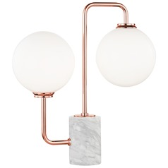 Mitzi Mia Polished Copper LED Table Lamp with Globe Shade