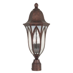 Post Light with Clear Glass in Burnished Antique Copper Finish
