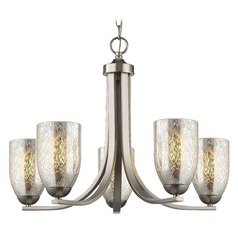 Satin Nickel Chandelier with Mercury Dome Glass and 5-Lights