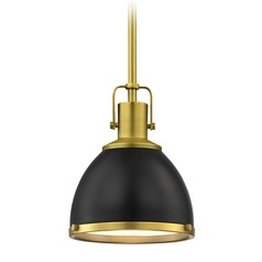 Black Mini-Pendant with Brass Accents 7.38-Inch Wide