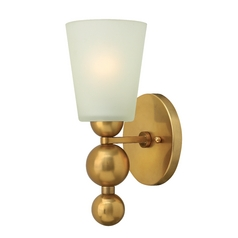 Wall Sconce with White Glass in Vintage Brass Finish