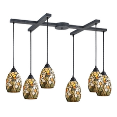 Multi-Light Pendant Light with Multi-Color Glass and 6-Lights
