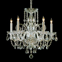 Crystorama Traditional 5-Light Crystal Chandelier in Polished Brass