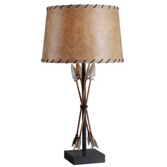 Kenroy Home Lighting Bound Arrow Antique Wash Table Lamp with Drum Shade