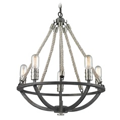 Elk Lighting Natural Rope Silvered Graphite/polished Nickel Accents Mini-Chandelier