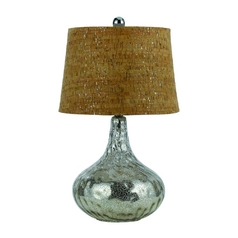 Modern Table Lamp with Brown Cork Shade in Antique Silver Finish