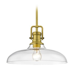 Industrial Clear Glass Pendant Light Satin Brass  14-Inch Wide