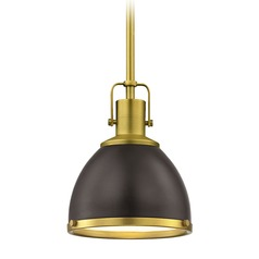 Industrial Small Metal Pendant Light Bronze with Brass 7.38-Inch Wide