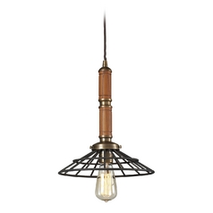 Pendant Light in Vintage Brass/vintage Rust Finish