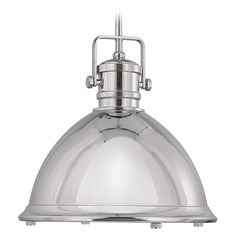 Capital Lighting Polished Nickel Pendant Light with Bowl / Dome Shade