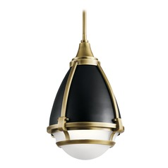 Industrial Pendant Light Natural Brass Ayra by Kichler Lighting