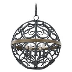 Feiss Lighting Avila Weathered Zinc/weathered Oak Pendant Light with Globe Shade