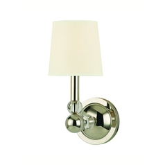 Sconce Wall Light with White Shade in Polished Nickel Finish