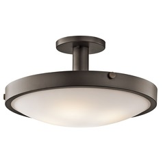 Kichler Semi-Flushmount Light with White Glass in Olde Bronze Finish