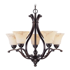 Chandelier with Beige / Cream Glass in Copper Espresso Finish