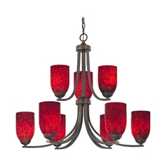 Contemporary 2-Tier 9-Light Chandelier with Red Art Glass in Bronze