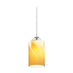 Chrome Mini-Pendant Light with Butterscotch Art Glass Shade