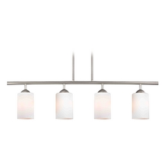 Design Classics Lighting Modern Island Light with White Glass in Satin Nickel Finish 718-09 GL1024C
