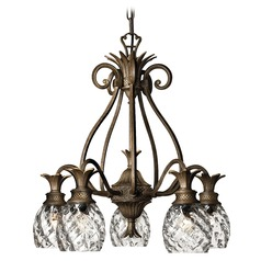 5-Light Pearl Bronze Pineapple Chandelier with Clear Glass