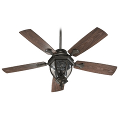 Seeded Glass Ceiling Fan with Light Oiled Bronze Quorum Lighting