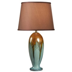 Kenroy Home Lighting Tucson Teal Ceramic Table Lamp with Empire Shade